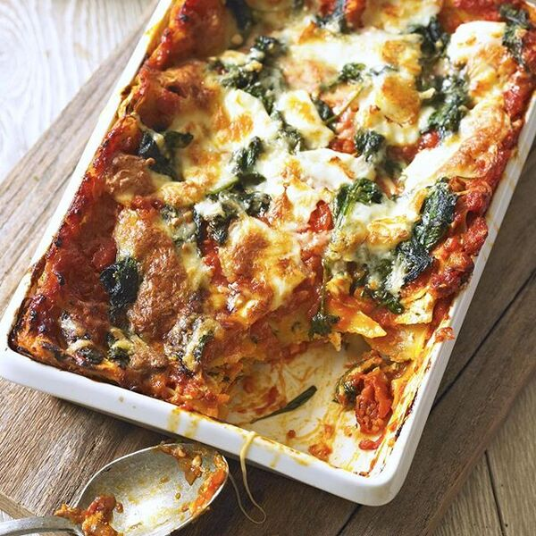 SATURDAY VEGGIE SPECIAL - Vegetable & ricotta lasagne with garlic bread
